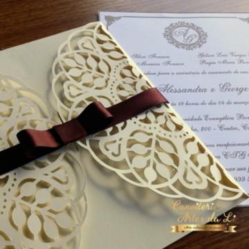 Convite Casamento Rendado Marfim