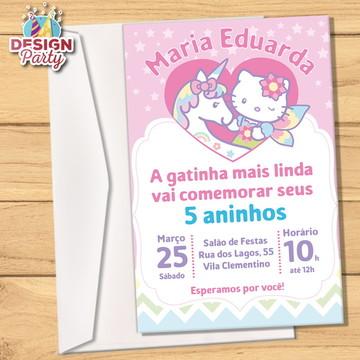 Convite Hello Kitty Unicórnio + Envelope