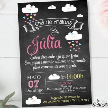 Convite Chuva de amor - Nuvem - Digital