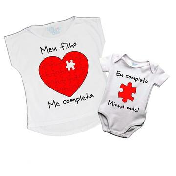 Kit body e camiseta Mae e Filho coração
