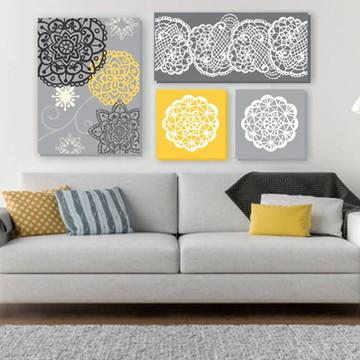Composição de 4 Quadros pintura em tela Cinza/amarela