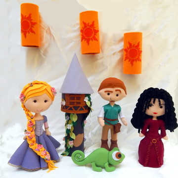 Kit Turma Enrolados Rapunzel em Feltro