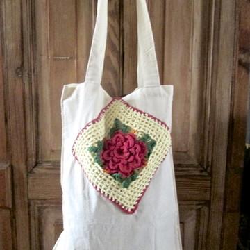 Sacola de Algodão - 'Tijolinho Florido'