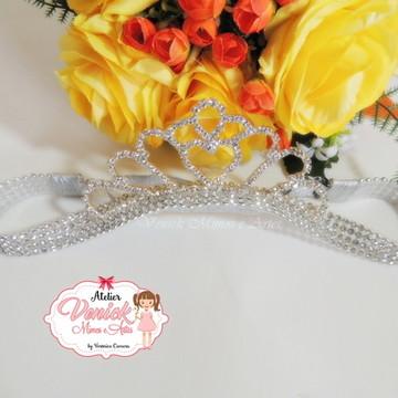 Faixa de strass prata com coroa prata
