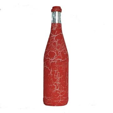 Garrafa decorada - Craquelê Vermelho
