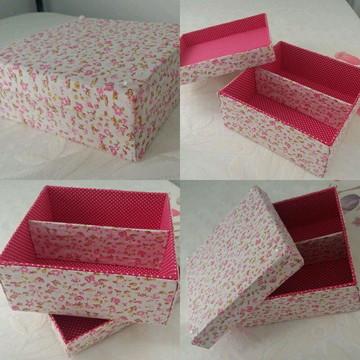 Caixa com divisória Floral Rosa