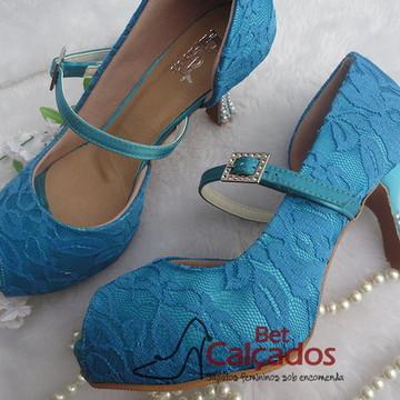 Sapato rendado salto pérolas (salto 7cm)