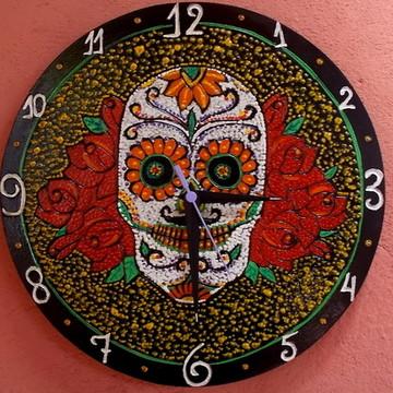 Relógio Caveira Mexicana - Decoração rock in roll