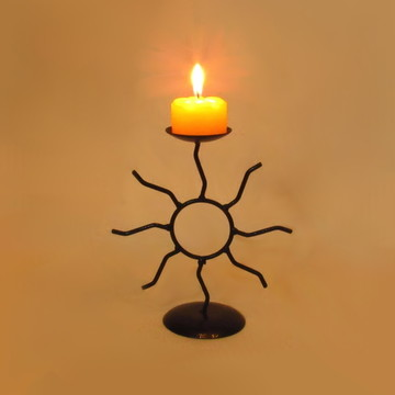 Castiçal Sol com vela Festa