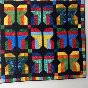 Painel patchwork batik quiltado