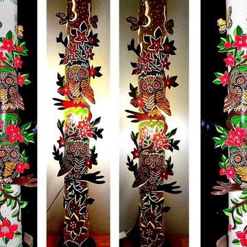 Luminária de Piso corujas Tropicais - Decoração de sala