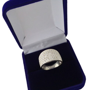 Anel Prata 950 Pedras Zircônias Pave