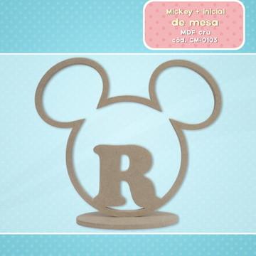 Mickey centro de mesa mdf cru personalizado com inicial