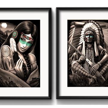 2 Quadros Índio Americano com Paspatur