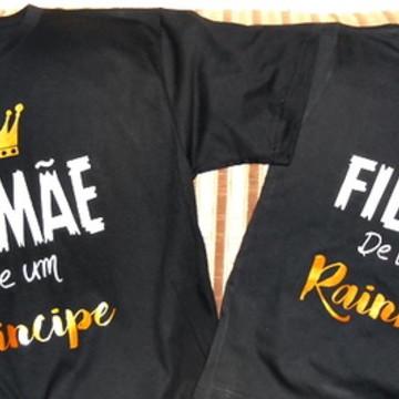 kit camiseta mamae de um principe