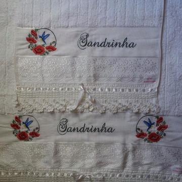 Jogo de toalhas personalizadas feminino