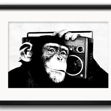 Quadro Macaco Preto Branco com Paspatur