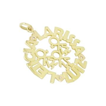 Mandala Nomes e Filhos   Ouro 18k   Brilhantes