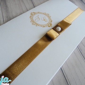 Convite casamento Marrom -Dourado