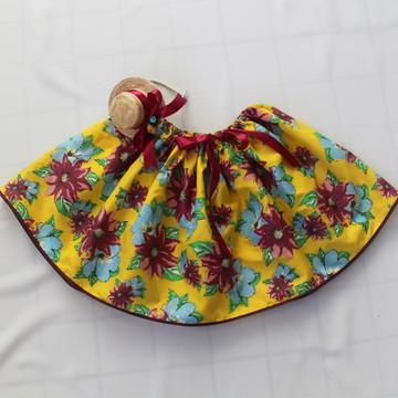Saia/Tiara Junina Floral Amarela Juvenil