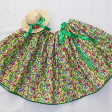 Saia/Tiara Festa Junina Floral Mix Adulto