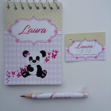 Bloquinho Personalizado Ursinha Panda