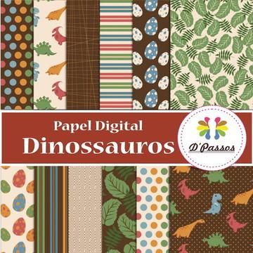 Kit 12 Papel Digital- Dinossauros