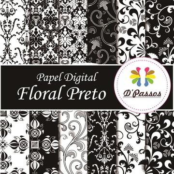 Kit 12 Papel Digital- Floral Preto