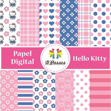 Kit 12 Papel Digital- Hello Kitty