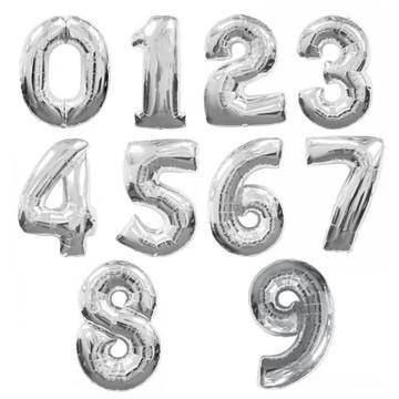 Balões de numeros Metalizados- PRATA