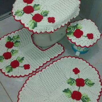 Jogo de banheiro flores vermelha