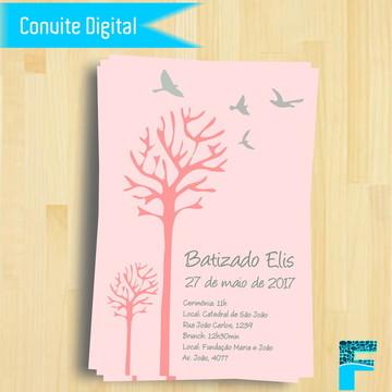 Convite Digital Batizado Menina ||