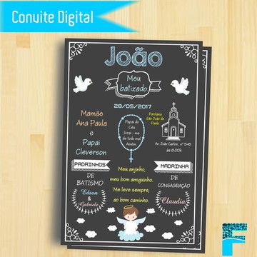 Convite Digital Chalkboard Batizado |