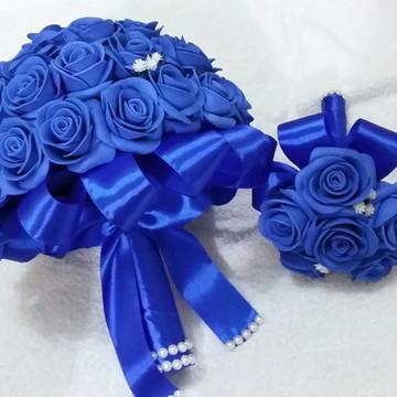 kit 3 Buquês azul noiva + daminhas