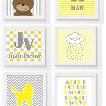 Quadro Infantil Little Man Chevron Amarelo e Cinza