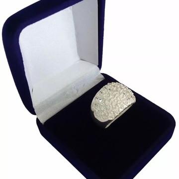 Anel Prata 950 com Pedras Zircônias Pave