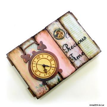 "Quadro Vintage + Relógio ""Precious time"""