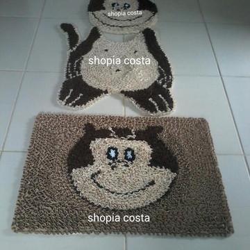 Tapete frufru banheiro macaco