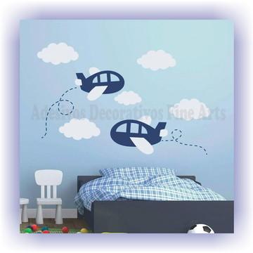 Kit Adesivo Aviões e nuvens