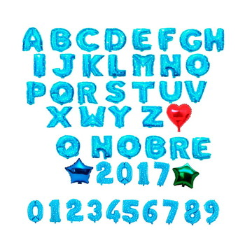 Balão metalizado com letras número azul