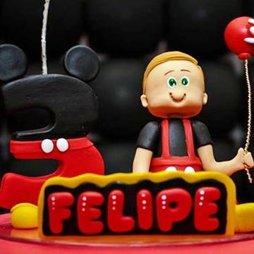 Topo de Bolo com Vela do Mickey