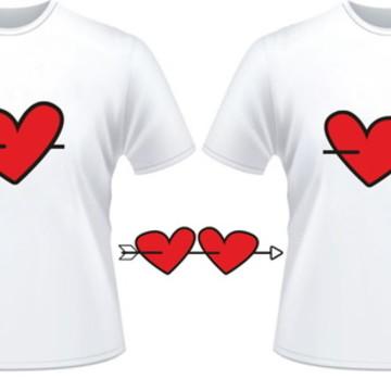 Kit 2 Camiseta Namorados Coração