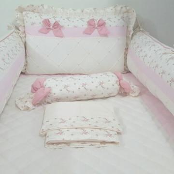 Kit Berço Rosa floral e Creme s/ Tema 8p