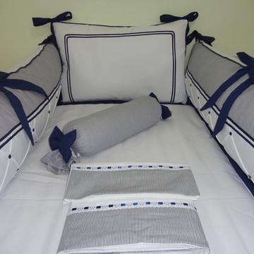 Kit Berço Azul Marinho Listrado e Branco