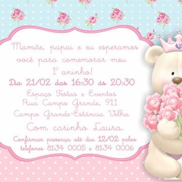 Convite digital ursa floral