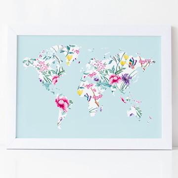 Quadro Mapa Mundi Floral