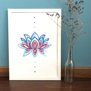 Aquarela Impressa   Flor de lótus