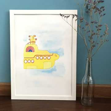 Aquarela Impressa   Submarino amarelo
