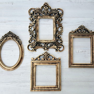 Kit 4 Espelhos Com Molduras Decorativas Ouro Velho