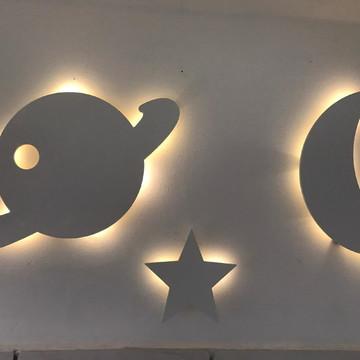 Conjunto Luminarias lua planeta estrela
